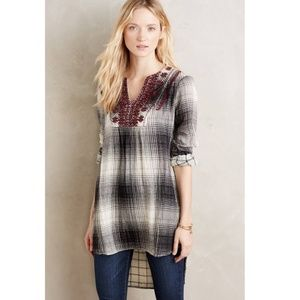 Anthropologie Tops - Anthropologie Flannel Embroidered Tunic Top S